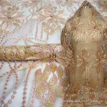Tissu avec dentelle nigériane et dentelle jaune