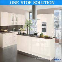 Gabinete de cozinha de alto brilho branco cremoso