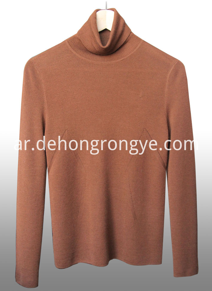 Caramel High Collar Worsted Cashmere Pullover