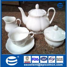 Ensemble de thé à os pur entièrement blanc avec 17pcs