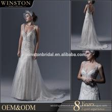Último estilo de alta calidad de encaje y cuentas de decoración sin mangas sirena vestido de novia