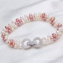 Bracelet de perle d'eau douce authentique charmant (E150034)