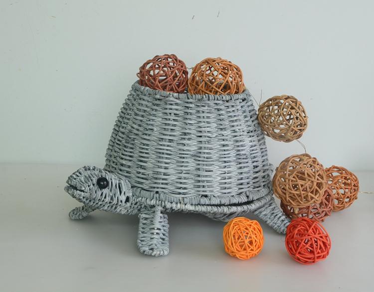grey rattan handicraft tortoise decoration pot-5