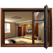 Aluminum cladding wooden double hung window, swing out and top hung open, awning and casement