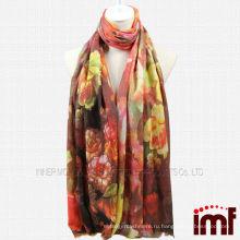 Шерстяные шарфы и платки Пион Цифровая печать
