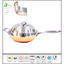 3 Ply Copper Chinese Wok Cookware