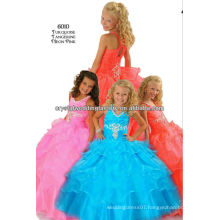 Hot sale V-neckline halter beaded tiered ball gown ruffled skirt turquoise girls long pageant dresses CWFaf5059