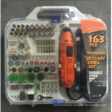 135W Portable Hobby Mini Grinder Rotary Tools Accessory Set with Flex Shaft Handheld Electric 163pcs Multi Tool Kit