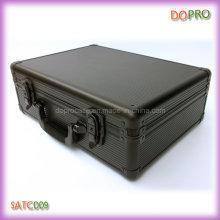 Preto listrado ABS superfície alumínio ferramenta caso (satc009)