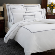 Luxuoso bordado cama edredon edredon conjunto