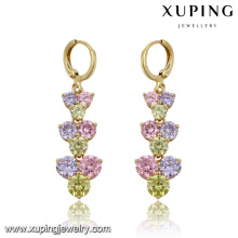Mode élégant Coloré CZ Diamant Imitation Bijoux Boucle D'oreille Eardrop en 14k Plaqué Or 91501