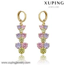 Fashion Elegant Colorful CZ Diamond Imitation Jewelry Earring Eardrop in 14k Gold-Plated 91501