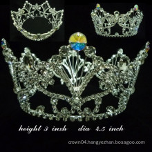 wedding hair accessories crystal full round jewelry tiara for pageant