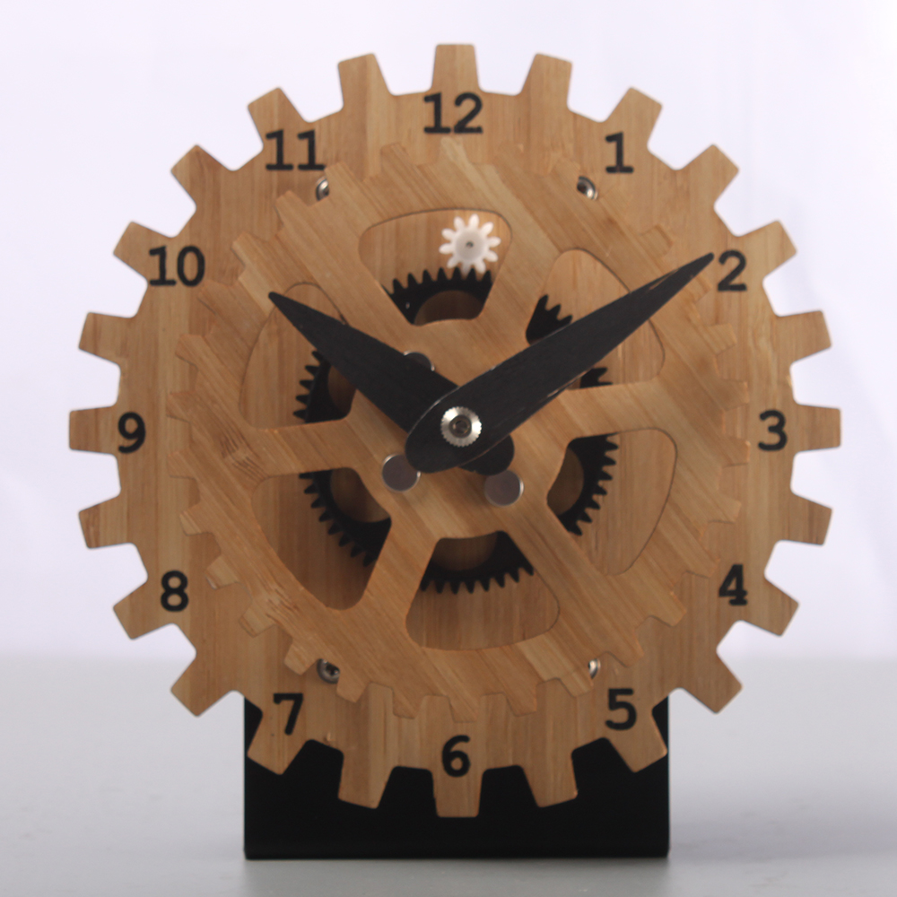 Bamboo Gear Table Clock