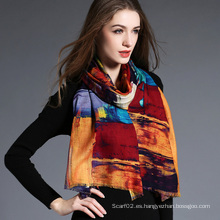 Mujeres, la geometría de la impresión digital de bufanda de lana