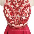 2017 ins venta caliente sexy ver a través del vestido de noche de cuentas de color rojo pesado guangzhou