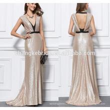 Sexy vestido de noche cuello profundo V cuello Backless sin mangas vestido de baile para las mujeres