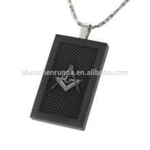 Homens de aço inoxidável preta banhado pingente jóia pingente quadrado sobre as vendas