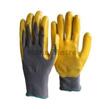 NMSAFETY nylon amarelo nitrilo luvas revestidas de luvas de trabalho para o tempo frio