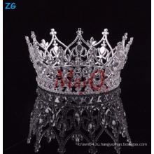 Оптовые новейшие дизайн горный хрусталь полный раунд принцесса корону для девочек