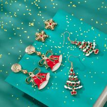 Weihnachten Ohrringe Frauen Mädchen Mode Einfache Feiertage Baumeln Ohrringe Schmuck Set