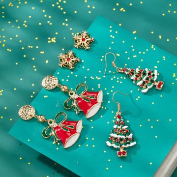 Boucles d'oreilles pendantes de Noël Femmes Filles Mode Vacances simples Dangle Anneaux d'oreille Ensemble de bijoux