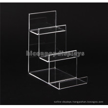 Leather Store Durable Tabletop Acrylic Material Handmade 3 Step Clutch Bag And Wallet Display Rack