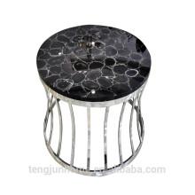 Table basse en simili précieuse en agate noir