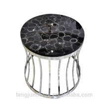 CANOSA black agate coffee table with golden sliver stainless steel