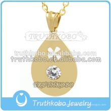 WholesaleTibet PVD or pendentif creux en forme de larme creux perlé bijoux conclusions