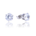 Custom Package 3-8MM Stainless Steel Single Stone Cubic Zircon Stud Earring Designs