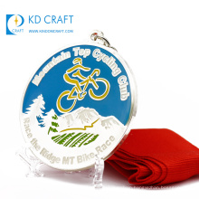 Chinese supplier custom metal alloy embossed 3D bicycle cycle race sport medals with ribbon drape
