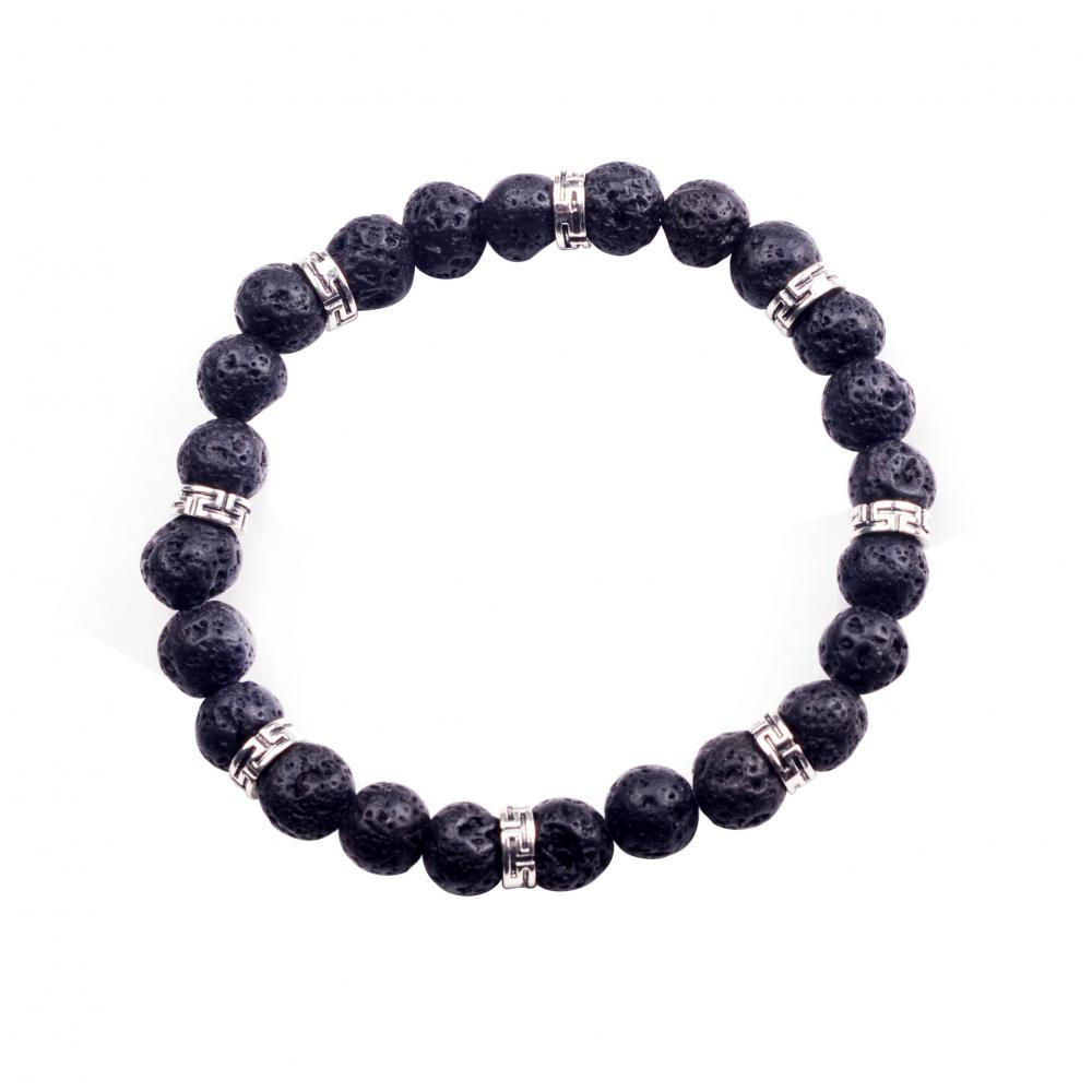 2016 Unique Design Men's 8mm Lava Stone Zinc Alloy Bead Bracelet