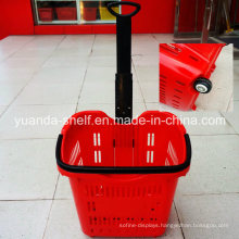 Supermarket Convenient Shopping Use Wheeled Plastic Basket