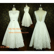 Latest de alta qualidade feito sob encomenda de uma linha de renda branca vestido de festa de casamento curto da China