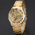 golden skeleton men watch alloy case watch with stainless steel band
