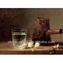 Todavía la vida de agua de la Copa Pintura al óleo hecha a mano