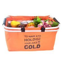 HOT SALE folding shopping basket cooler Aluminum frame folding collapsible picnic cooler bag