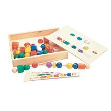 Educacional de madeira clássica Beads Sequence Toy Box para Crianças
