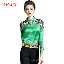 Оптовая весна и лето мода печать женщины блузка/рубашка