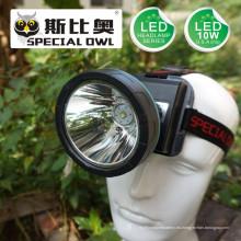 5W 7W 10W LED faro con 3PCS * batería de litio recargable para camping al aire libre y minero de carbón lámpara faro de minería
