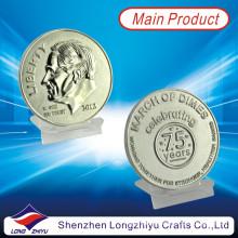 American Liberty Customized 3D Commemorative Metal Silver Coins, Embossed Challenge Badge Médailles de la mode Médaillon d'argent (LZY1300005)