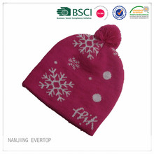 Girls Pretty Jacquard Pompom Knitted Hat