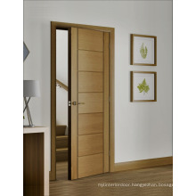 Natural Oak Veneer Interior Door with Horizontal Stripes