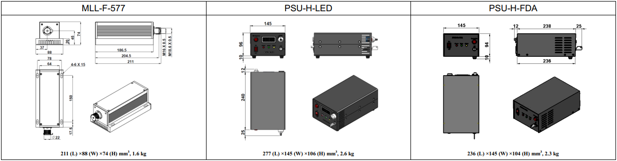 dimension of 577nm low noise laser