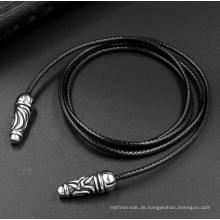 Schwarze Farbe 2,5 mm Leder Woven Halskette 2 Größe Mode-Accessoires