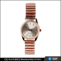 rose gold fashion stainless steel watch lady, waterproof elastic bracelet watch