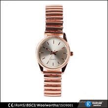 Señora del reloj del acero inoxidable de la manera del oro color de rosa, reloj elástico impermeable de la pulsera