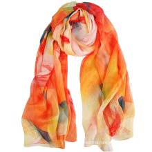 Summer 2017 trends good quality digital printing floral mousseline 100% silk scarf long scarf shawl
