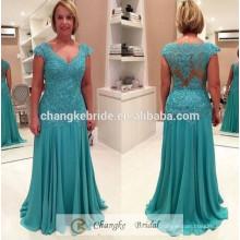 На заказ Свадебные Вечерние платья Cap рукавом кружева Зеленая мята шифон плюс Размер Русалка мать невесты платье